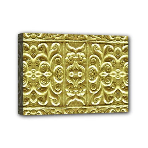 Gold Plated Ornament Mini Canvas 7  X 5  (framed)