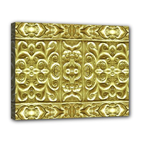 Gold Plated Ornament Canvas 14  X 11  (framed)