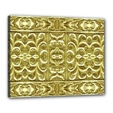 Gold Plated Ornament Canvas 20  x 16  (Framed)