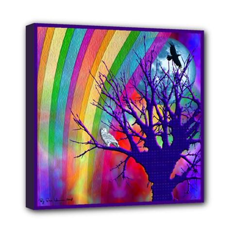 Rainbow Moon Mini Canvas 8  x 8  (Framed)