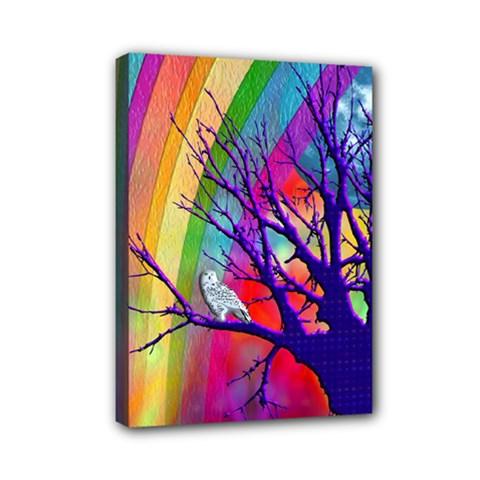 Rainbow Moon Mini Canvas 7  X 5  (framed)