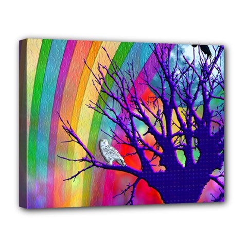 Rainbow Moon Canvas 14  x 11  (Framed)