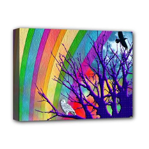 Rainbow Moon Deluxe Canvas 16  X 12  (framed)
