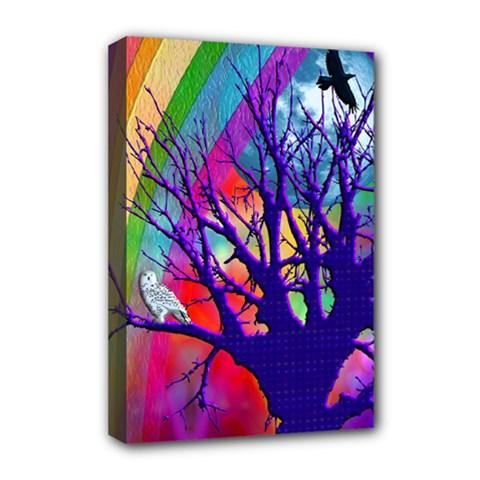 Rainbow Moon Deluxe Canvas 18  x 12  (Framed)