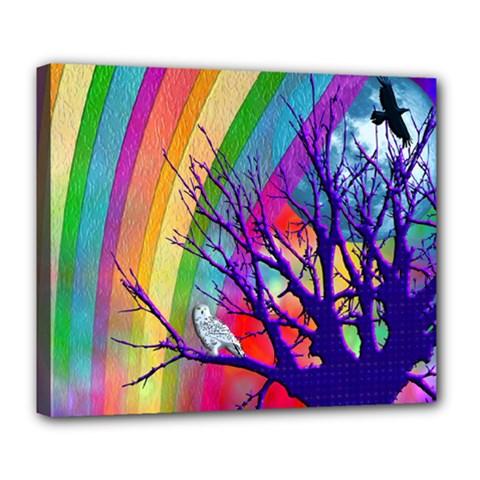Rainbow Moon Deluxe Canvas 24  x 20  (Framed)