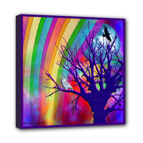 Rainbow Moon Mini Canvas 8  x 8  (Framed)