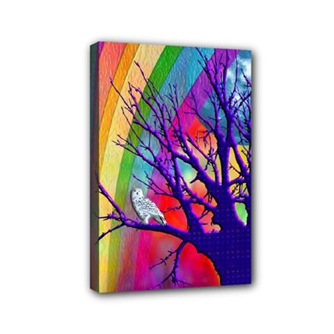 Rainbow Moon Mini Canvas 6  X 4  (framed)