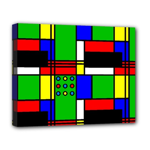 Mondrian Deluxe Canvas 20  X 16  (framed)