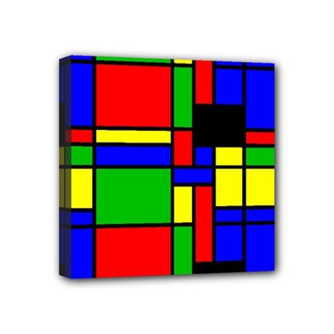 Mondrian Mini Canvas 4  x 4  (Framed)