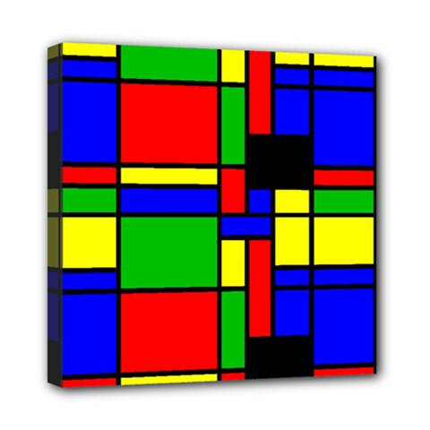 Mondrian Mini Canvas 8  x 8  (Framed)