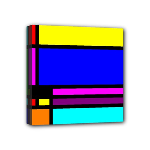 Mondrian Mini Canvas 4  X 4  (framed)