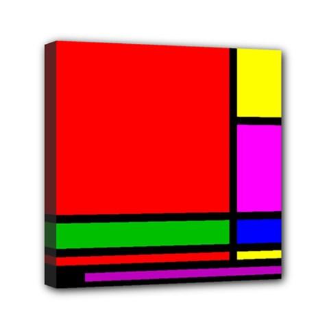 Mondrian Mini Canvas 6  X 6  (framed)