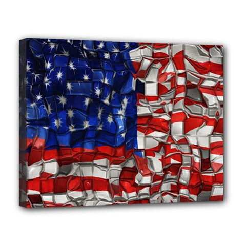 American Flag Blocks Canvas 14  X 11  (framed)