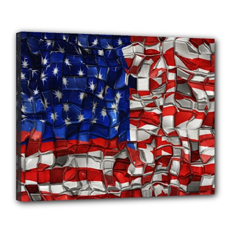 American Flag Blocks Canvas 20  X 16  (framed)