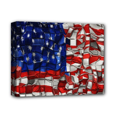 American Flag Blocks Deluxe Canvas 14  x 11  (Framed)