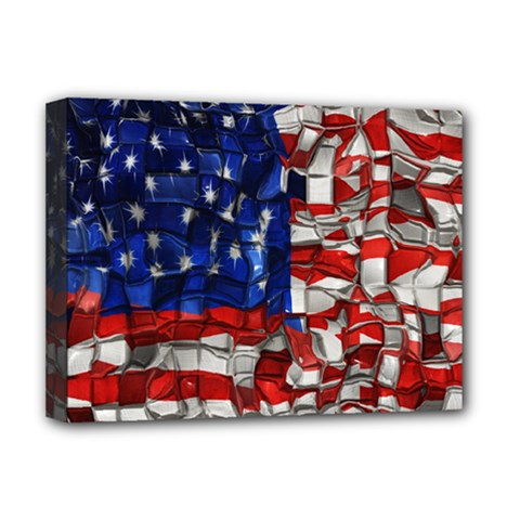 American Flag Blocks Deluxe Canvas 16  x 12  (Framed)