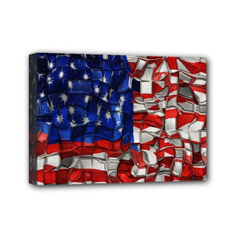 American Flag Blocks Mini Canvas 7  x 5  (Framed)