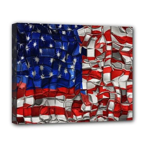 American Flag Blocks Deluxe Canvas 20  x 16  (Framed)