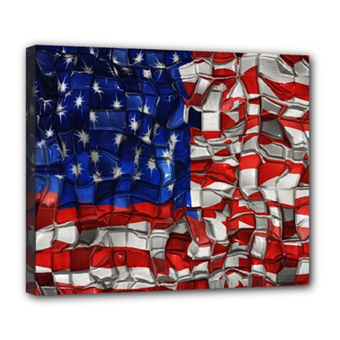 American Flag Blocks Deluxe Canvas 24  x 20  (Framed)