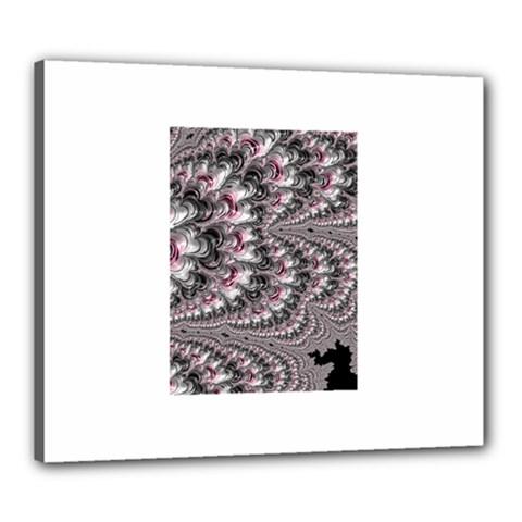 Black Red White Lava Fractal Canvas 24  x 20  (Framed)