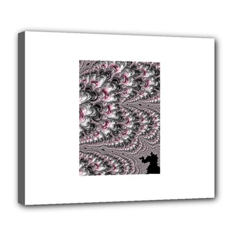 Black Red White Lava Fractal Deluxe Canvas 24  x 20  (Framed)