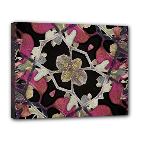 Floral Arabesque Decorative Artwork Canvas 14  x 11  (Framed)