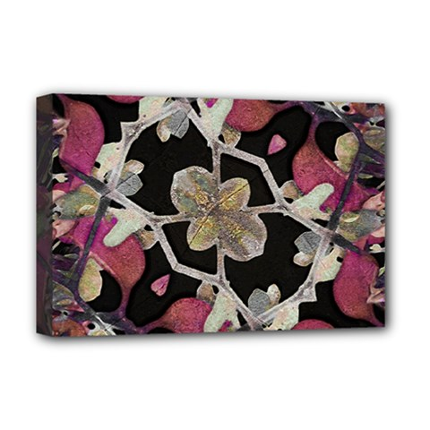 Floral Arabesque Decorative Artwork Deluxe Canvas 18  x 12  (Framed)