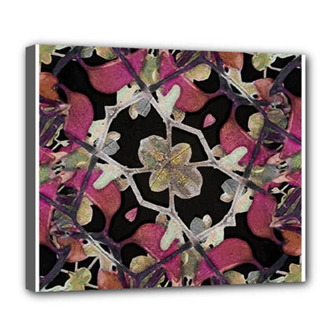 Floral Arabesque Decorative Artwork Deluxe Canvas 24  X 20  (framed)