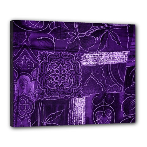 Pretty Purple Patchwork Canvas 20  x 16  (Framed)