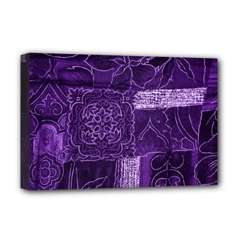 Pretty Purple Patchwork Deluxe Canvas 18  x 12  (Framed)