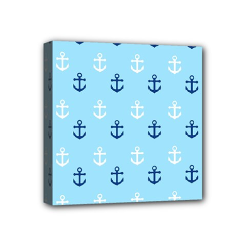 Anchors In Blue And White Mini Canvas 4  X 4  (framed)