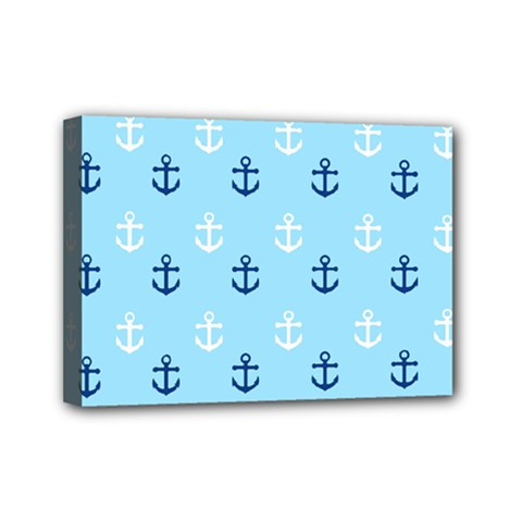 Anchors In Blue And White Mini Canvas 7  x 5  (Framed)