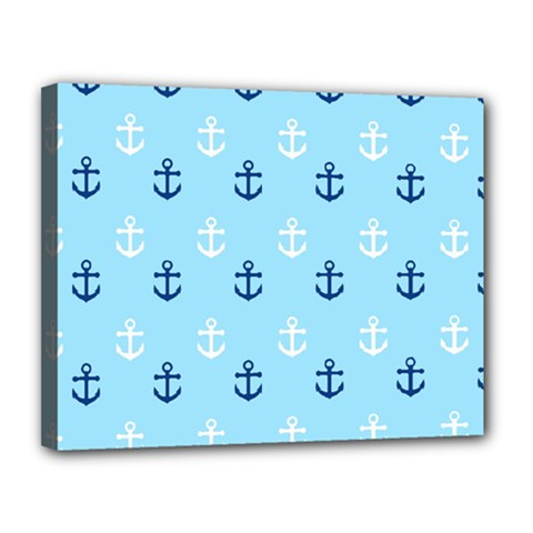 Anchors In Blue And White Canvas 14  X 11  (framed)