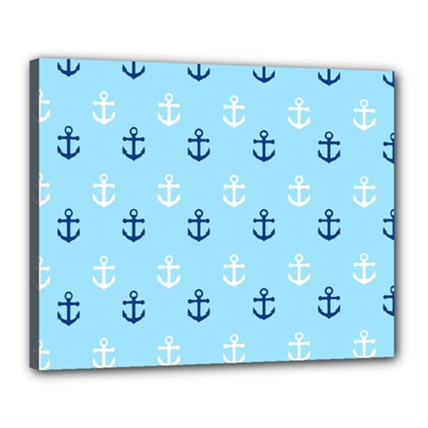 Anchors In Blue And White Canvas 20  X 16  (framed)