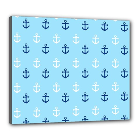 Anchors In Blue And White Canvas 24  x 20  (Framed)