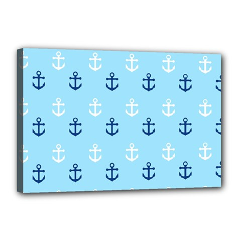 Anchors In Blue And White Canvas 18  x 12  (Framed)