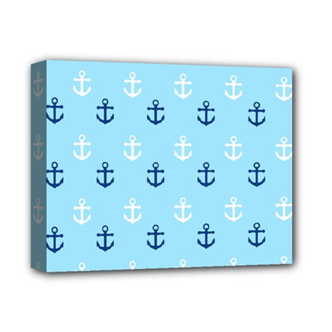 Anchors In Blue And White Deluxe Canvas 14  x 11  (Framed)