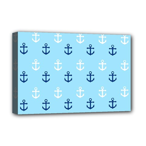 Anchors In Blue And White Deluxe Canvas 18  x 12  (Framed)