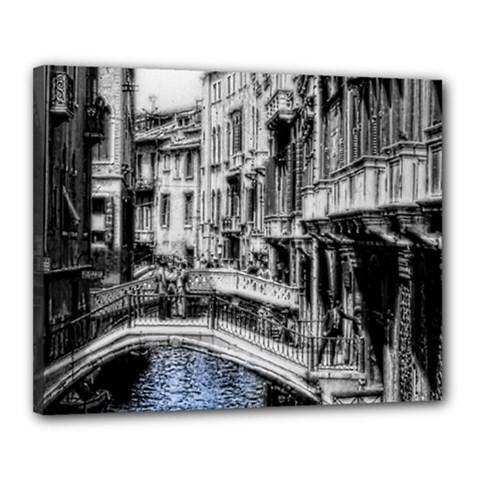 Vintage Venice Canal Canvas 20  x 16  (Framed)