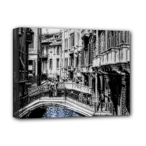 Vintage Venice Canal Deluxe Canvas 16  x 12  (Framed)