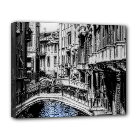 Vintage Venice Canal Deluxe Canvas 20  x 16  (Framed)