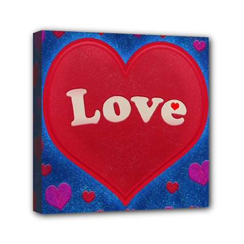 Love theme concept  illustration motif  Mini Canvas 6  x 6  (Framed)