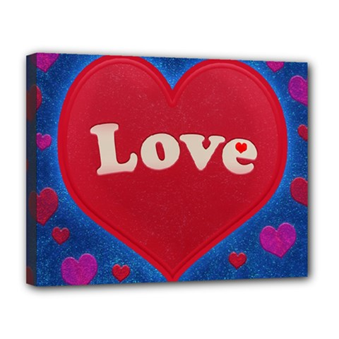 Love theme concept  illustration motif  Canvas 14  x 11  (Framed)