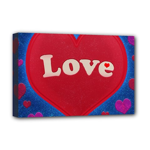Love Theme Concept  Illustration Motif  Deluxe Canvas 18  X 12  (framed)