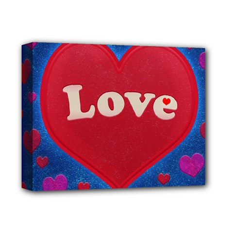 Love Theme Concept  Illustration Motif  Deluxe Canvas 14  X 11  (framed)