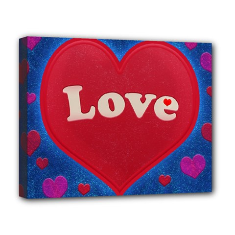 Love Theme Concept  Illustration Motif  Deluxe Canvas 20  X 16  (framed)