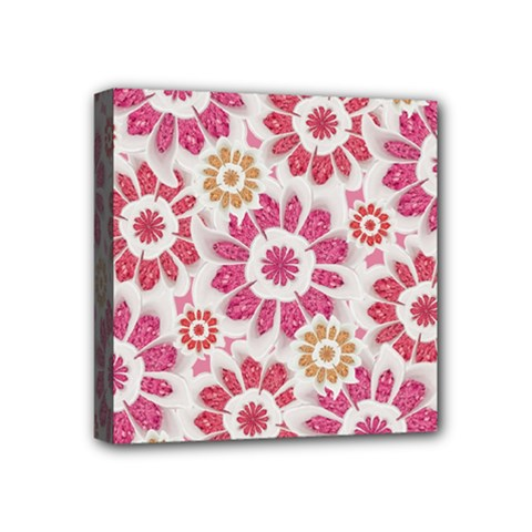 Feminine Flowers Pattern Mini Canvas 4  X 4  (framed)