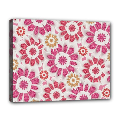 Feminine Flowers Pattern Canvas 14  X 11  (framed)
