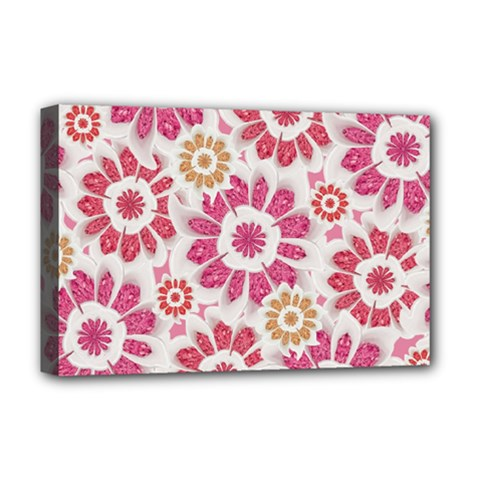 Feminine Flowers Pattern Deluxe Canvas 18  x 12  (Framed)