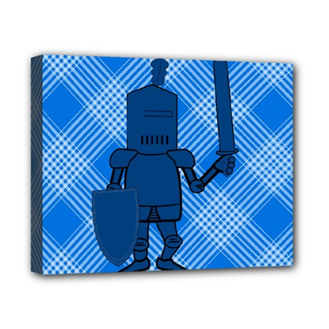 Blue Knight On Plaid Canvas 10  x 8  (Framed)